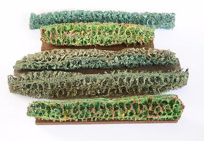5 X Vintage Hornby Railway Accessories O Gauge Hedge Rows Scenery Hedges Layout