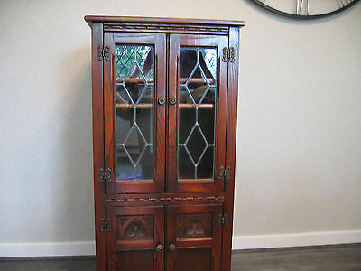 Stunning Old Charm Solid Oak Hi Fi Cabinet with Hinged Top Leaded Glass Doors