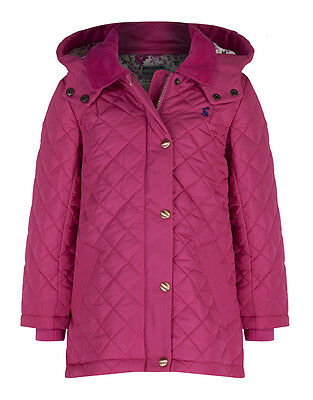 Joules Girls' Marcotte Quilted Coat with Hood - Fuschia Pink V_JNRMARCOTTE