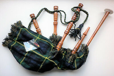 Junior Mini Playable Scottish Bagpipes in various Tartans (Rose Wood)