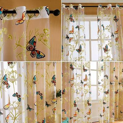 Door Window Home Decor Voile Tulle Valance Scarf Floral Butterfly Sheer Curtains