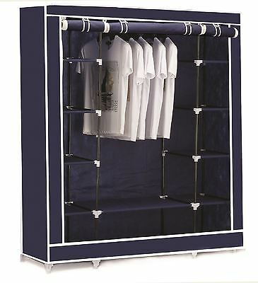 Vinsani Triple Canvas Clothes Cupboard Hanging Rail With Storage Shelves - Blue