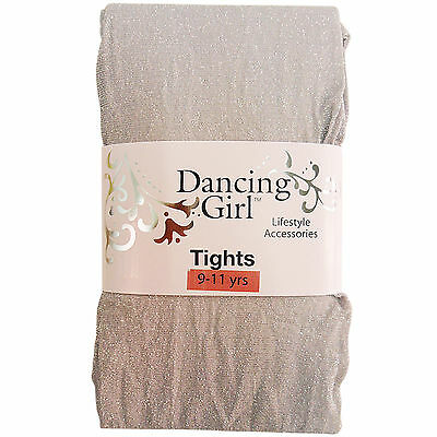 New Childs Childrens Girls Glitter Sparkly Party Silver Tights Age 9 / 10 / 11 • EUR 366,02