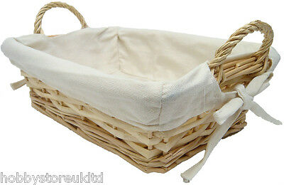 Rectangular Wicker Basket Bread Fruit Basket Lined Tray Hamper with Handles New
