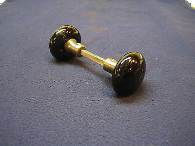 Pair Antique Black Glass Porcelain Door Knobs Victorian Architectural Salvage