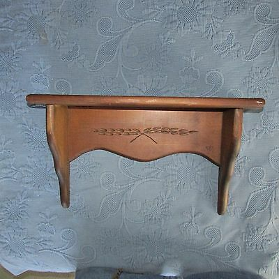 Vintage Primitive Pine Spoon Carved Wheat Clock Shelf by Colonial Heirlooms