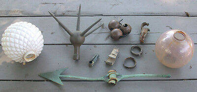 Antique Lightning Rod Lot: Ball (2) Arrow Weather Vane 5 Point Thistle Finial