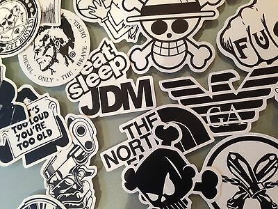 60 B&W mono vinyl decal quality random STICKER BOMB car stickers skate UK SELLER