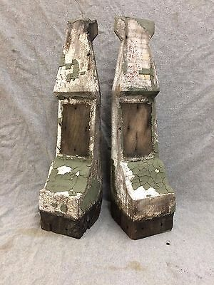 Pair Antique Wood Corbels Vintage Shabby Old Chic 2128-16