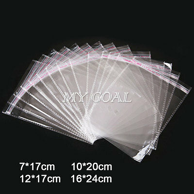 100 Clear Cellophane Cello Bag Seal Poly Self Adhesive Peel OPP Plastic For Card