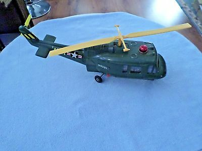 """Vintage Battery Operated Helicopter - ARMY - Made In Japan - #56201 - 14"""" Long"""