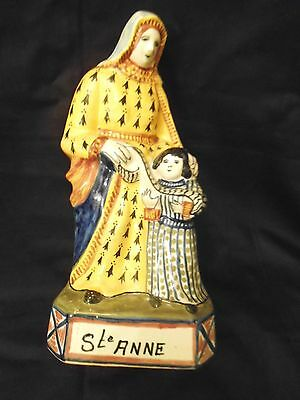 Henriot Quimper Large Figure Of Sainte Anne & Child Statue French Faience
