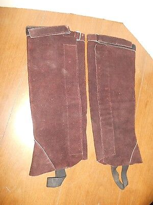 XL Half Chaps Brown Suede Leather