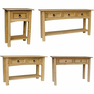 Corona Panama 1 2 3 Console Table With Shelf Solid Pine Wood Hallway Furniture