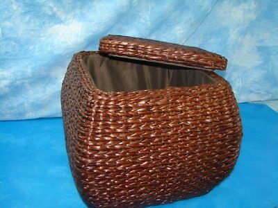 New Lined Wicker Storage Ottoman Furniture Bench Stool Seat