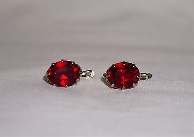 VINTAGE  RUSSIAN STERLING SILVER 875 LAB  RUBY CORUNDUM 6.4Ct EARRINGS USSR 3.7g