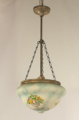 1 Light Antique Spanish Blown Glass Hand Painted Blue Dish Chandelier