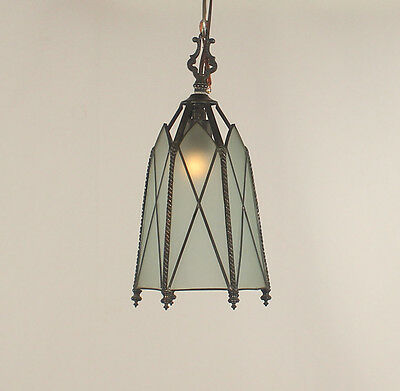 1 Light Antique Art Deco 6 Panel Blue Frosted & Leaded Glass Lantern (U.S)