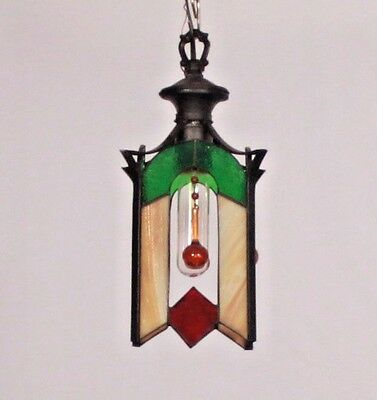 Antique American 1 Light Black Wrought Iron Lantern w/ Multi-colored Glass Panel