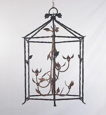 Antique 1950's American Black & Brown Wrought Iron Lantern (Not Electrified)