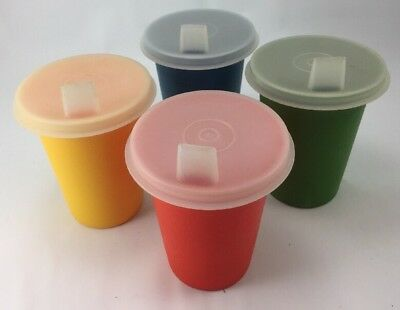 Vintage Lot of 4 Tupperware Bell 109 Tumblers Primary Colors no lids