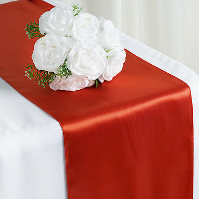"""Burnt Orange SATIN 12x108"""" Table RUNNER Wedding Party Catering Decorations"""