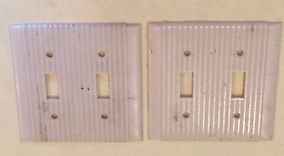 Lot of 2 Vtg Ribbed Lines Ivory P&S Uniline Double Wall Switch Plate Cover