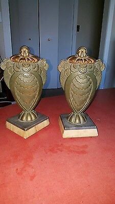 2 ART DECO ANTIQUE PEIROT CLOWNS 1920's MARBLE BASE VARIOUS METALS FRANCE 10.5""