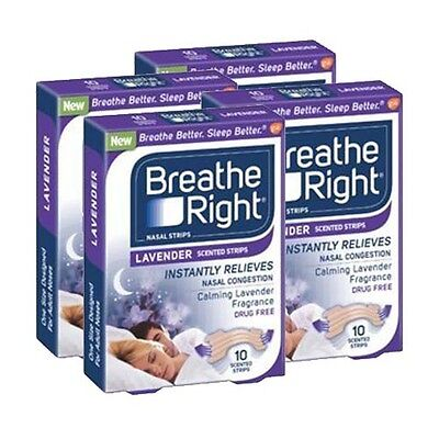 4 Pack - Breathe Right Nasal Strips Lavender Scented Strips 10 Ct -Exp 11/16