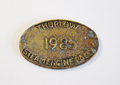 Interesting Old Brass Steam Engine Plaque - Thurlow - Great Character & Patina