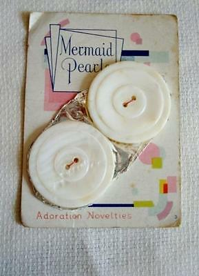 2 Vintage Mother of Pearl Shell Buttons 1 1/3 In. Original Mermaid Pearls Card