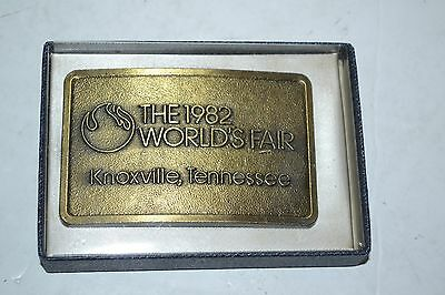 1982 World's Fair Metal Belt Buckle - Knoxville Tennessee - In Original Box