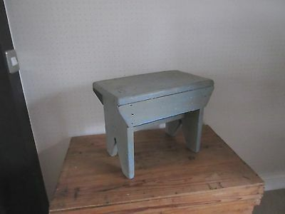 Vintage artisan made shabby chic pale grey blue painted wooden foot low stool