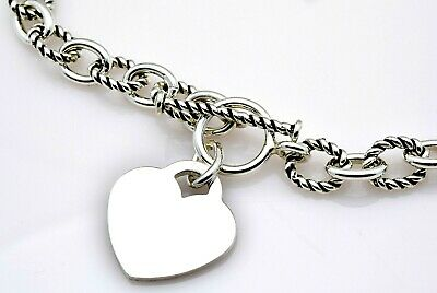 "Sterling Silver Sm Twist Oval Cable Link Heart Toggle Necklace 17 18"" 34G #813"