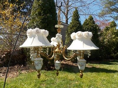 Vintage Italy Barbola Rose Swag 5-Arm Antique Chandelier W/ White Rose Shades &