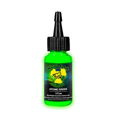 Moms Nuclear UV Tattoo Ink .5 ounce  Atomic Green Ultra Violet US 1/2 oz