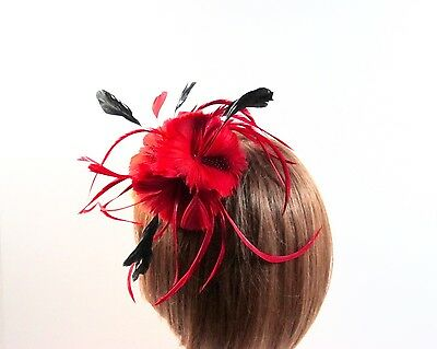 Red Triple Feather Flower Feathers Pin Hair Clip Hat Pin Red Hat Society Ladies