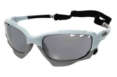 New Oakley Racing Jacket Sunglasses Matte Blue Ice/Gray Vented Made In USA!