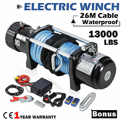 12V 13000lbs Recovery Electric Winch ATV Synthetic Dyneema Rope Wireless Remote