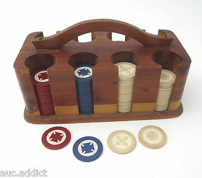 Vintage Inlaid Clay Poker Chips Red White Blue with Butcher Block Caddy Carrier