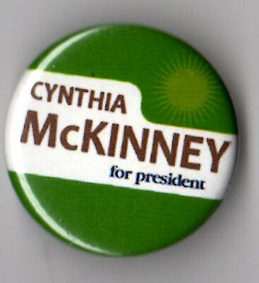 Cynthia McKinney campaign button pin 2008 Green Party small