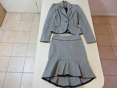Women's REVIEW Size 6 AU Work Suit Blazer Skirt Grey As New Office Corporate
