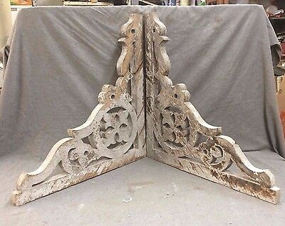 Pair Antique Corbels Porch Bracket Gothic Shabby Old Chic Vintage 2137-16