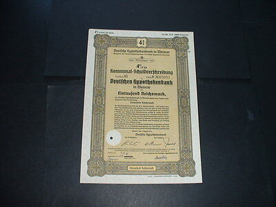 Original 1/8/41 Germany/weimar 1000 Reichmarks /embossed  State Seal
