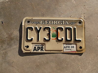 Georgia 2008 motorcycle License Plate  #  CY 3 CDL