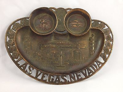 Vintage Las Vegas Nevada Ashtray Copper Convention Center Advertising Dice Gambl