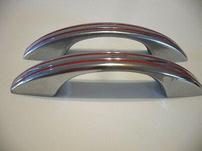 2 Vintage CHROME DRAWER or Cabinet DOOR Pulls w RED Lines Handles National Lock