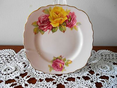 Colclough Bone China Side Plate Pink & Yellow Rose Design England