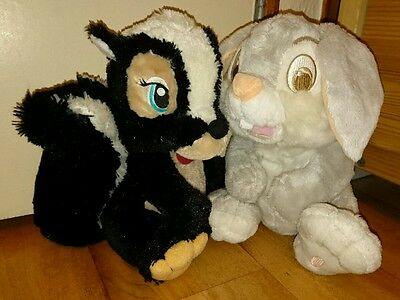 "Disney Bambi 12"" thumper rabbit & flower skunk soft toys Disney store exclusive"