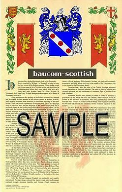 BAUCOM Armorial Name History - Coat of Arms - Family Crest GIFT! 11x17